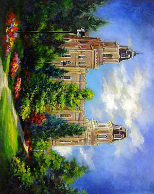 Painting - Manti Utah Temple-pathway To Heaven by Marcia Johnson