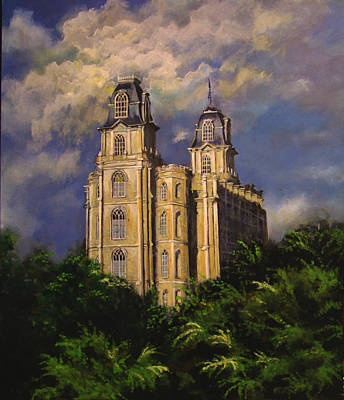Painting - Manti Utahtemple Sentinel by Marcia Johnson