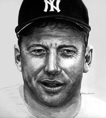 New York Yankees Drawing - Mantle II by Londie Benson