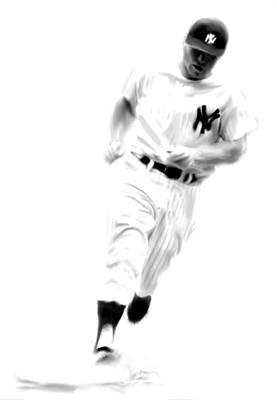 Drawing - Mantles Gate  Mickey Mantle by Iconic Images Art Gallery David Pucciarelli