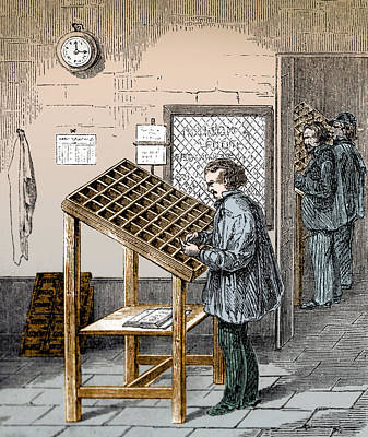 Manual Typesetter, 19th Century Art Print by Science Source