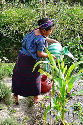 Handcrafted Jewelry Photograph - Manuela Watering The Garden In San Antonio Palopo by Eye Browses