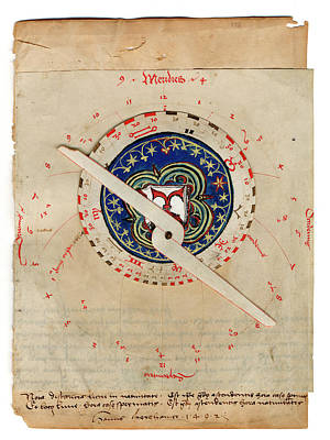 Vellum Photograph - Manuscript Astrolabe by Museum Of The History Of Science/oxford University Images
