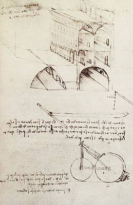 Da Vinci Reproductions Drawing - Manuscript B F 36 R Architectural Studies Development And Sections Of Buildings In City With Raise by Leonardo Da Vinci