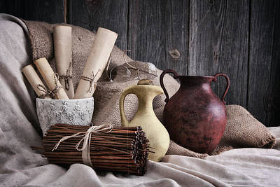 Crock Photograph - Manuscripts Still Life by Tom Mc Nemar