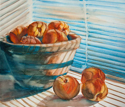 Window Sill Painting - Many Blind Peaches by Jani Freimann