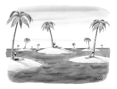 Desert Drawing - Many Desert Islands by Harry Bliss