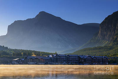 Swiss Photograph - Many Glacier Hotel by Mark Kiver