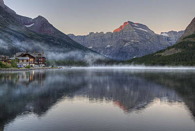 Many Glacier Hotel On Swiftcurrent Lake Art Print by Darlene Bushue