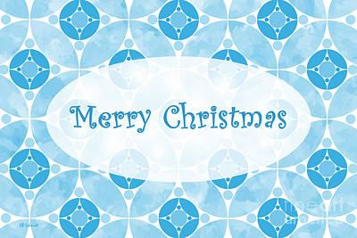 Digital Art - Many Moons - Blue Christmas Card by E B Schmidt