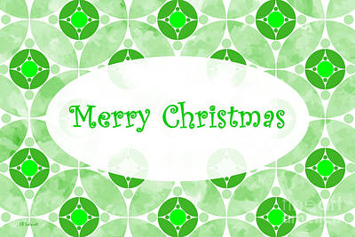 Digital Art - Many Moons - Green Christmas Card by E B Schmidt