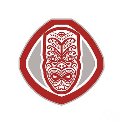 Maori Wall Art - Digital Art - Maori Mask Face Front Shield Retro by Aloysius Patrimonio