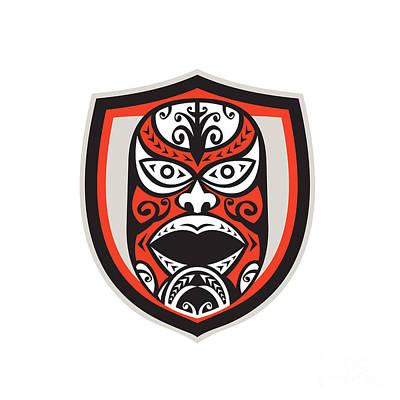 Maori Wall Art - Digital Art - Maori Mask Shield Retro by Aloysius Patrimonio