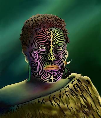 Digital Art - Maori Warrior - 4 by Marlene Watson