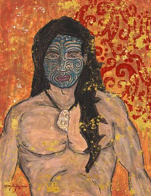 South Sea Mixed Media - Maori Warrior by William Depaula