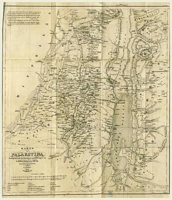 Map, Biblical Researches In Palestine, Mount Sinai Art Print