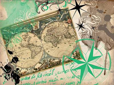 Map Collage Art Print by Cindy Edwards