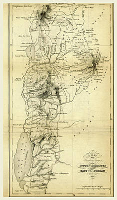 Jordan Drawing - Map Countries South Of Damascus And East Of Jordan by Litz Collection
