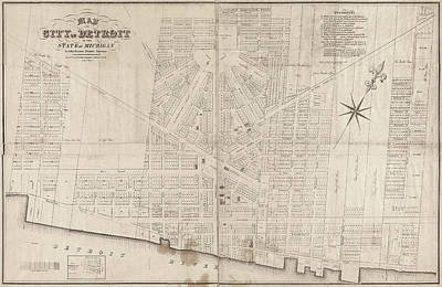 Art Print featuring the painting Map Detroit, 1835 by Granger