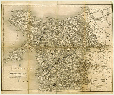 North Wales Drawing - Map, Excursions In North Wales, Including Aberystwith by Litz Collection