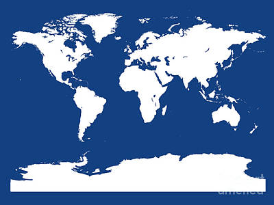 Digital Art - Map In Blue And White by Jackie Farnsworth