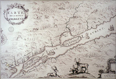 Quebec Painting - Map In New France, C1675-82 by Granger