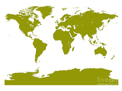Digital Art - Map In Olive Green by Jackie Farnsworth