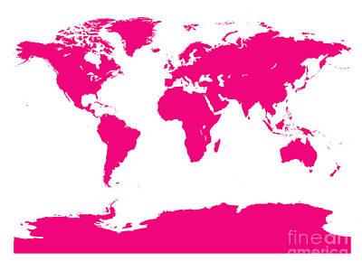Digital Art - Map In Pink by Jackie Farnsworth