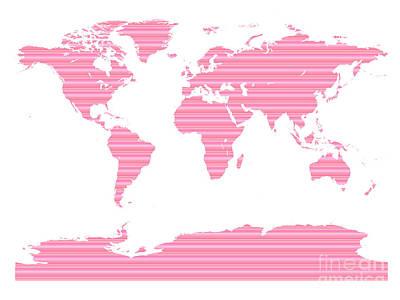 Digital Art - Map In Pink Stripes by Jackie Farnsworth
