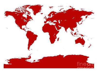 Digital Art - Map In Red by Jackie Farnsworth