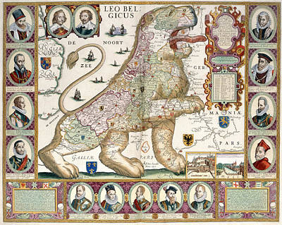 Belgium Photograph - Map In The Shape Of A Lion by British Library
