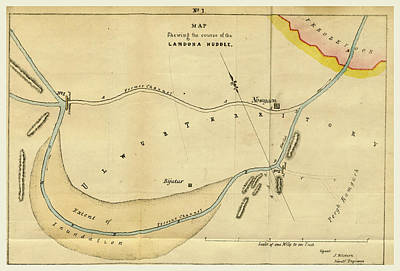 1833 Drawing - Map Landoha Nuddee, Of 1833 by Litz Collection