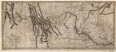 Painting - Map Lewis And Clark, 1814 by Granger