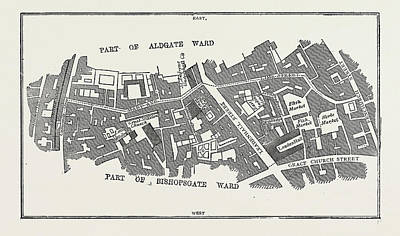 Lime Drawing - Map Lime Street Ward, London, Uk by Litz Collection
