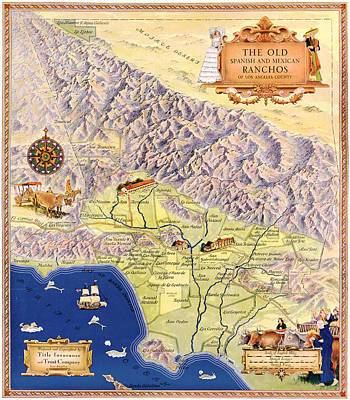 Santa Monica Drawing - Map Los Angeles, C1937 by Granger