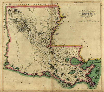 1814 Painting - Map Louisiana, 1814 by Granger