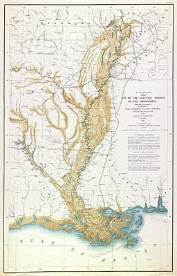 Drawing - Map Mississippi River, 1861 by Granger