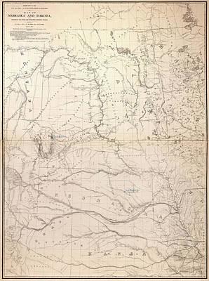 South Dakota Map Painting - Map Nebraska, 1867 by Granger