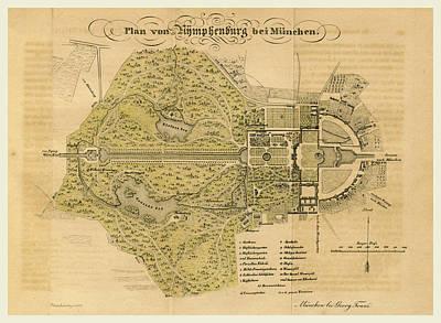 Map Nymphenburg Near Munchen Germany Art Print