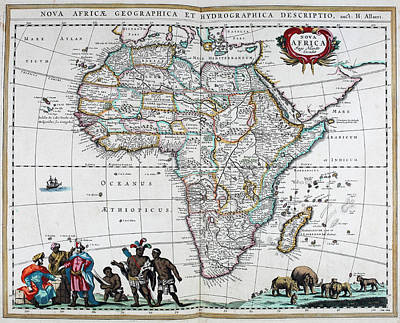 Seventeenth Century Mixed Media - Map Of Africa - 1665 by Charlie Ross