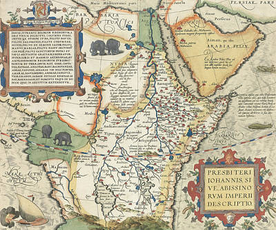 Yemen Drawing - Map Of Africa And The Arabian Peninsula by Abraham Ortelius