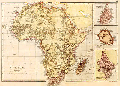 Map Of Africa, C. 1850 Art Print
