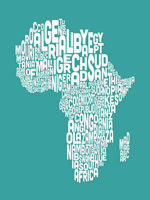 Map Of Africa Map Text Art Art Print by Michael Tompsett