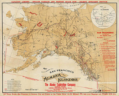 Map Of Alaska 1898 Art Print by Andrew Fare