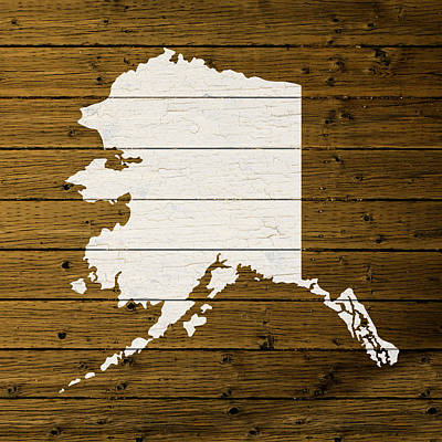 Map Of Alaska State Outline White Distressed Paint On Reclaimed Wood Planks. Art Print by Design Turnpike