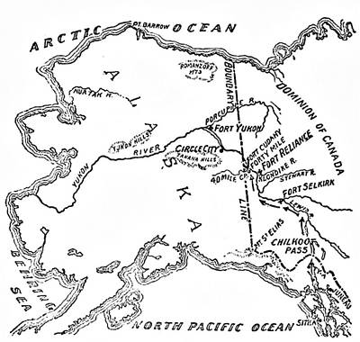Pacific Ocean Drawing - Map Of Alaskan And Yukon Gold Mines by