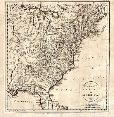 Photograph - Map Of America, 1791 by Science Source