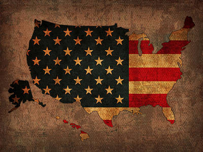 Map Of America United States Usa With Flag Art On Distressed Worn Canvas Art Print by Design Turnpike
