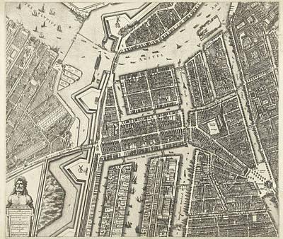 Map Of Amsterdam Leaf Middle Left, 1625 Art Print