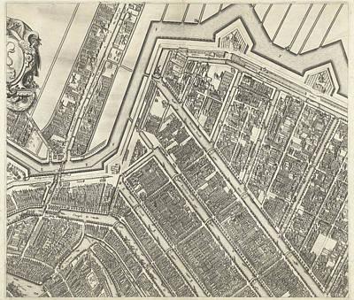 Map Of Amsterdam Leaf Top Center, 1625 Art Print